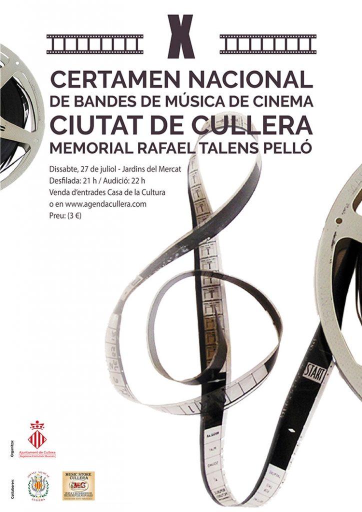 Cartel del X Certamen Nacional de Bandas de Música de Cine 'Ciutat de Cullera' Memorial Rafael Talens Pelló